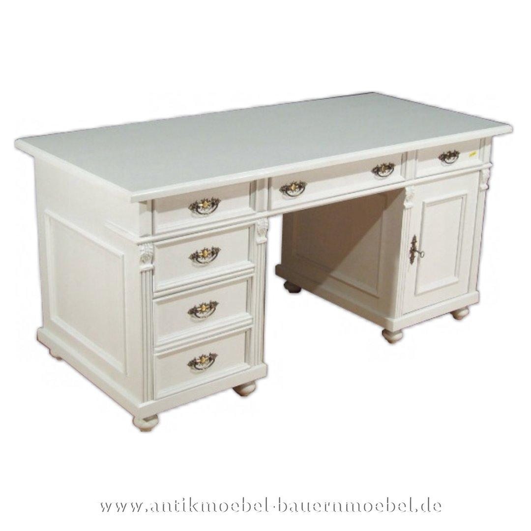 Schreibtisch weiß landhaus  Schreibtisch weiss Massivholz Landhausstil Gründerzeit Bürotisch PC-  Arbeitstisch Lackiert