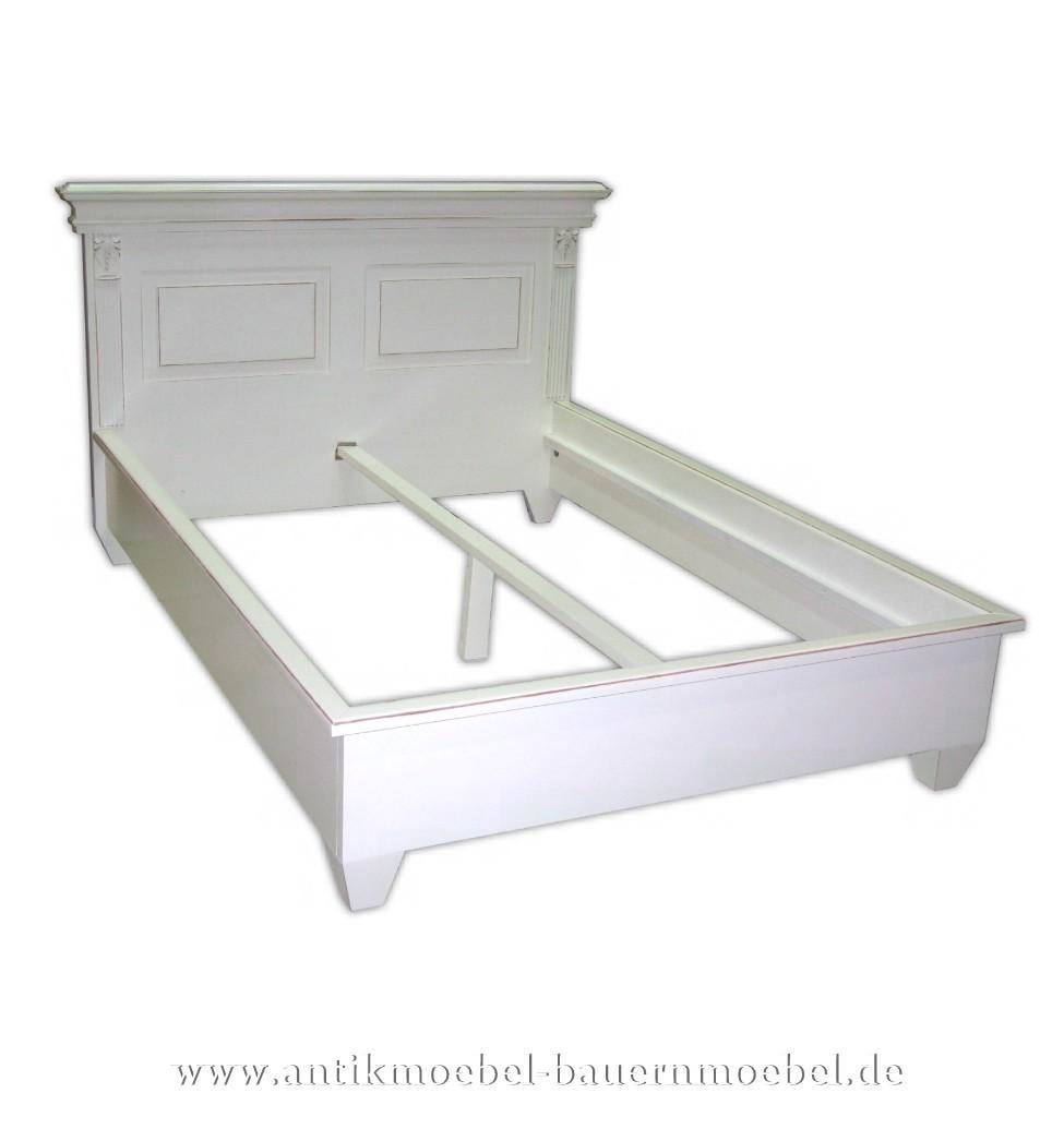 Bett Doppelbett Bettgestell 140x200 Weiß Massivholt Landhausstil Gründerzeit Lackiert Fichte
