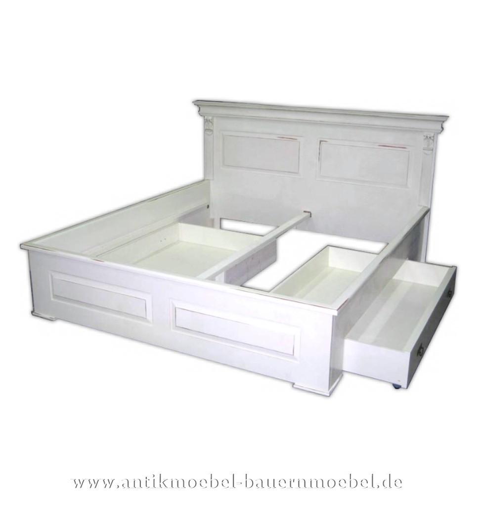 Bett Doppelbett Schubkastenbett 180x200 Landhaus Weiß Lackiert Vollholz Shabby Chic