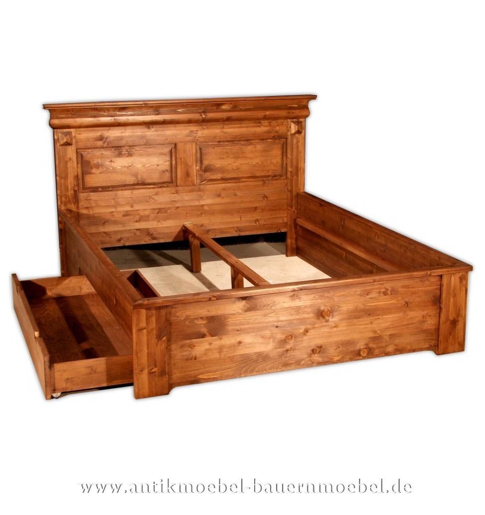 Bett Doppelbett Schubkastenbett Bettgestell 160x200 Landhausstil Vollholz  Gründerzeit Bettkasten