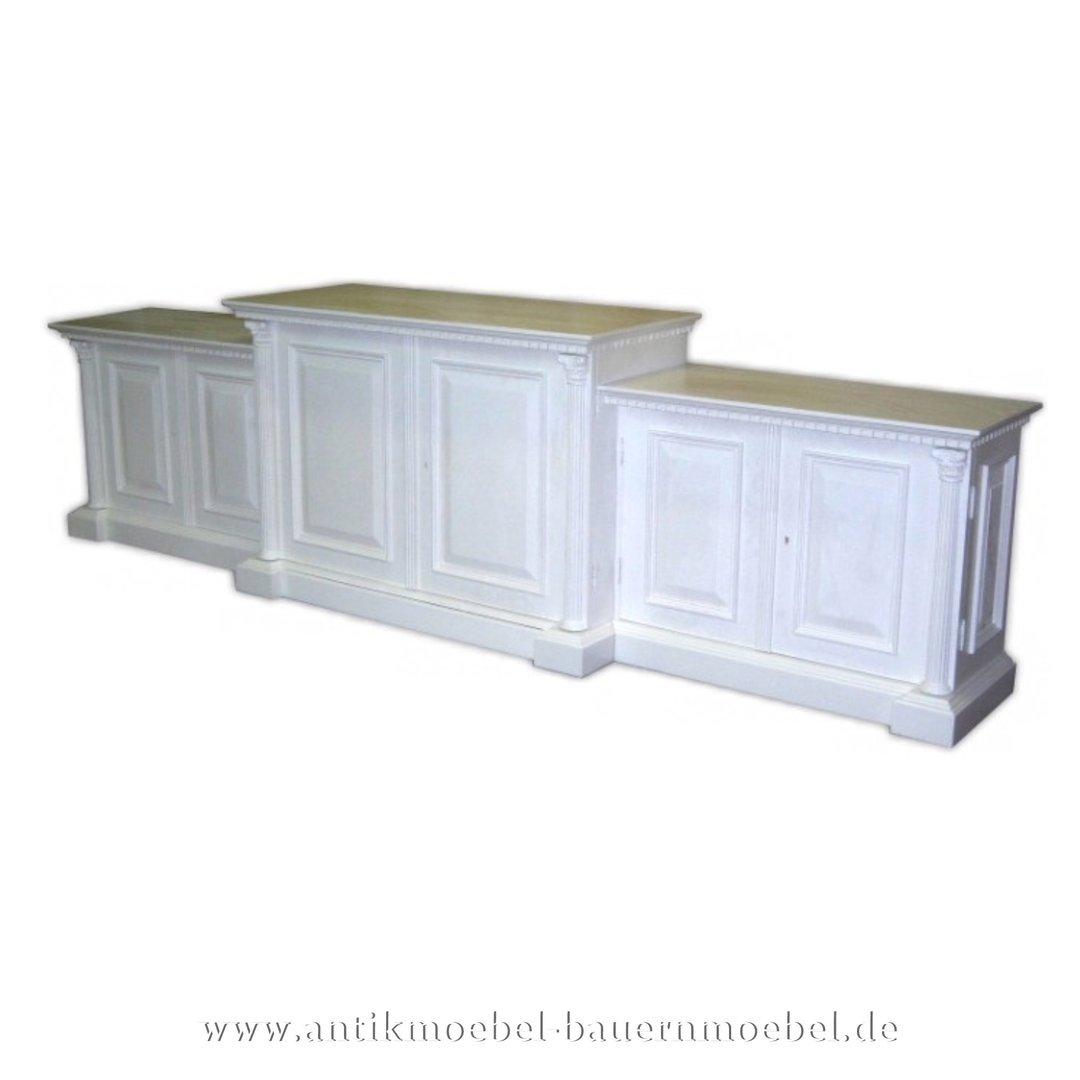 Sideboard Highboard Anrichte Weiss Massiv Grunderzeit Landhausstil