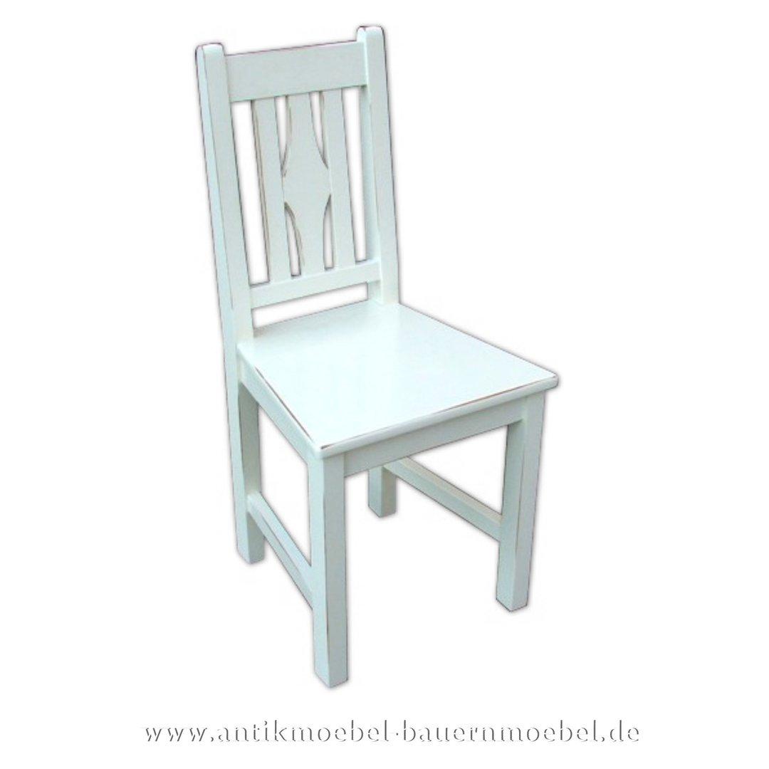 Holzstuhl Massivholz Stuhl Fichte Landhausstil Küchenstuhl Lackiert Vollholz Weiß TOuPkZwXi
