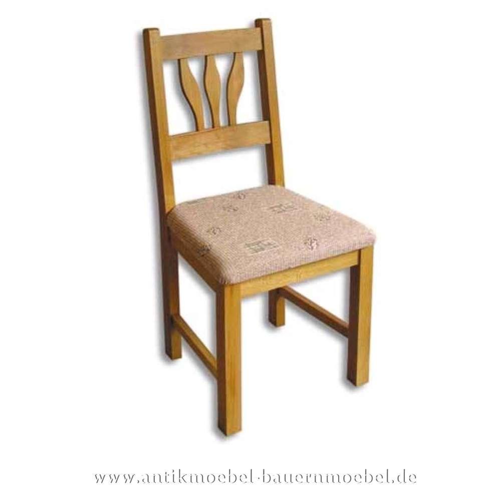 Stuhl Holzstuhl Buche Massiv Landhausstil Gepolstert Mit
