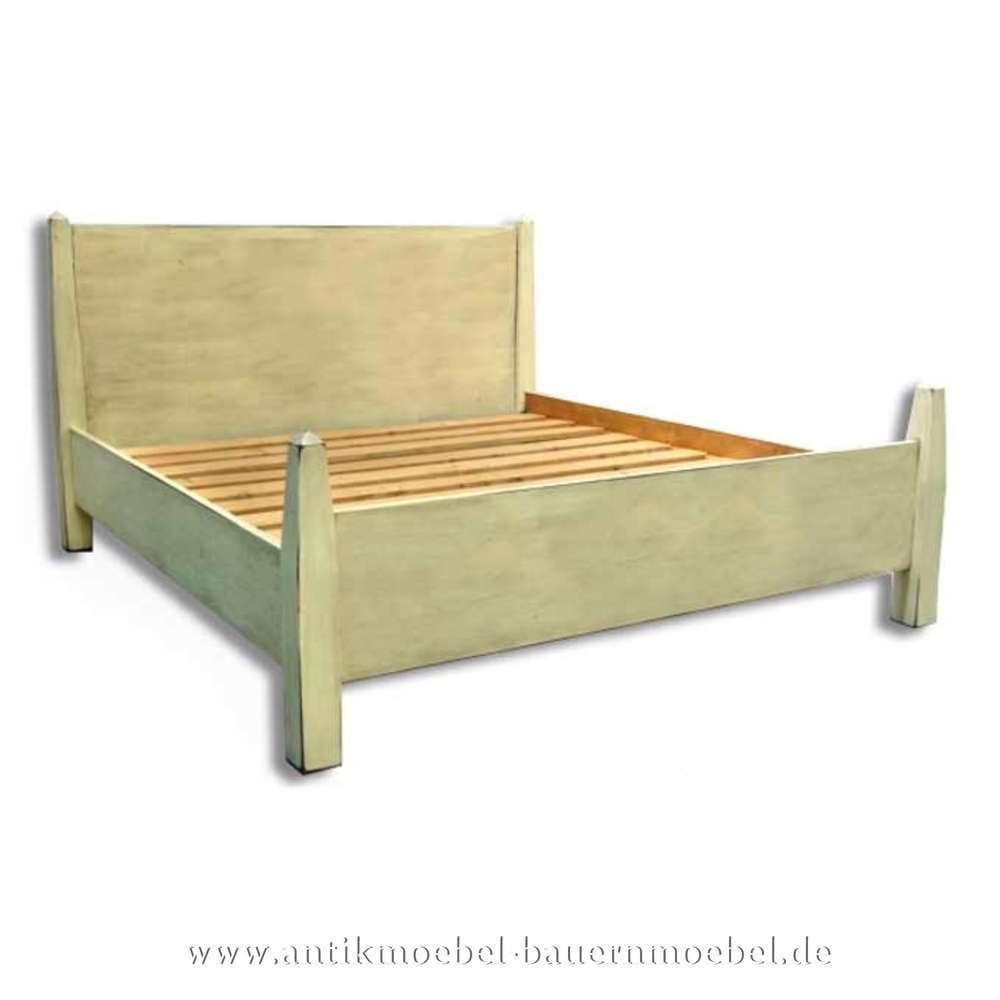 Bett Doppelbett 160x200 Landhausmöbel Weiß Shabby Chic Lackiert Bettgestell Vollholz