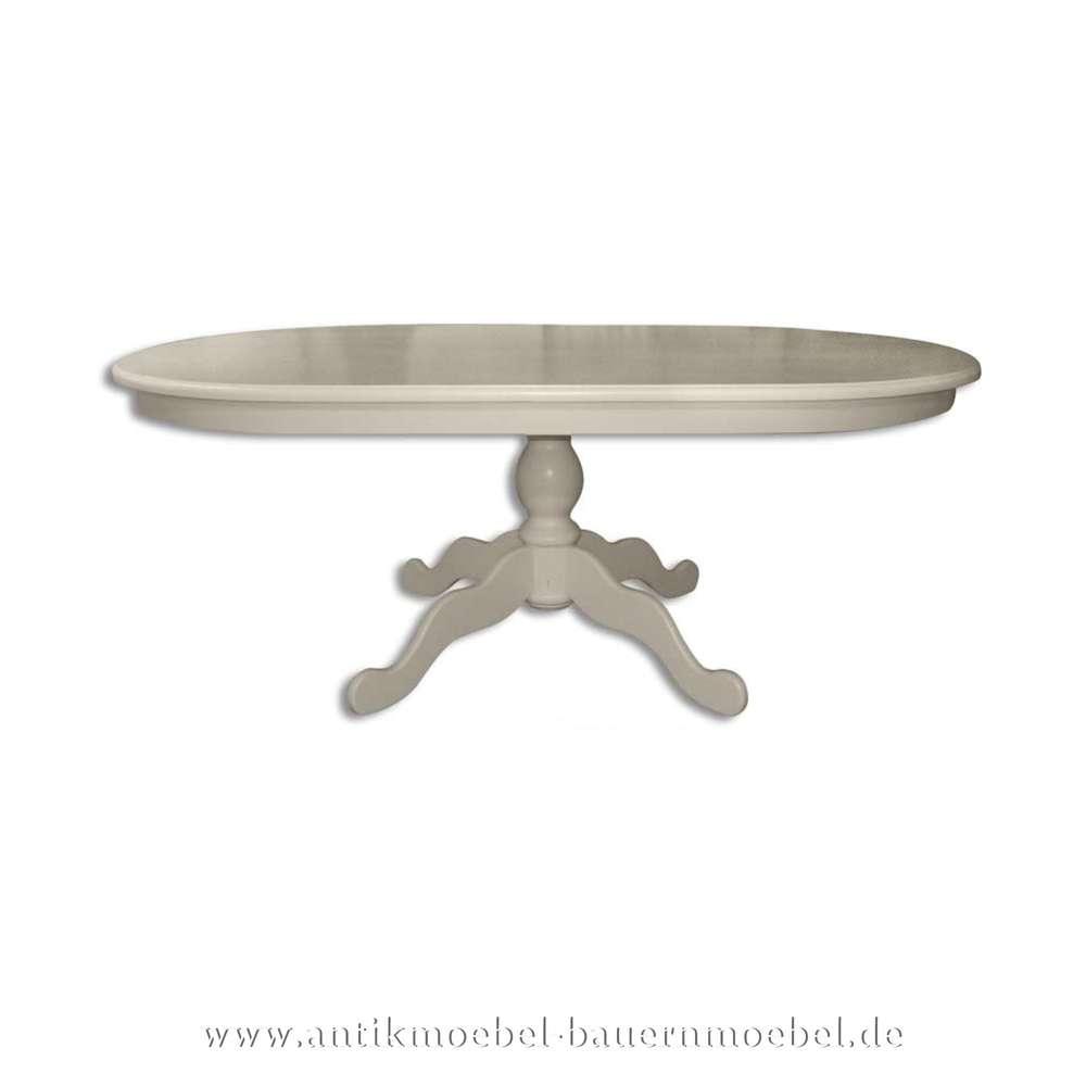 Esstisch Säulentisch Holztisch Weiss Oval Massivholz Landhausstil