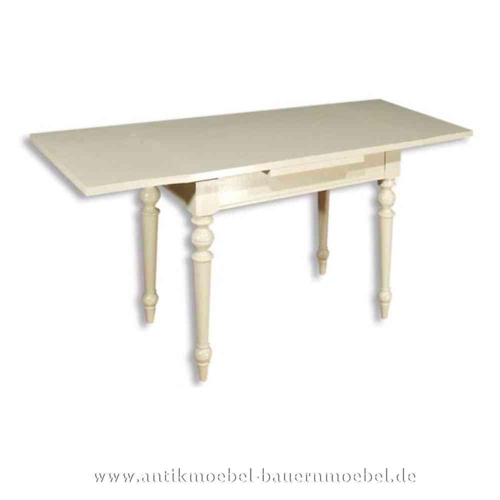 Esstisch Kulissentisch Holztisch weiß ausziehbar Massivholz