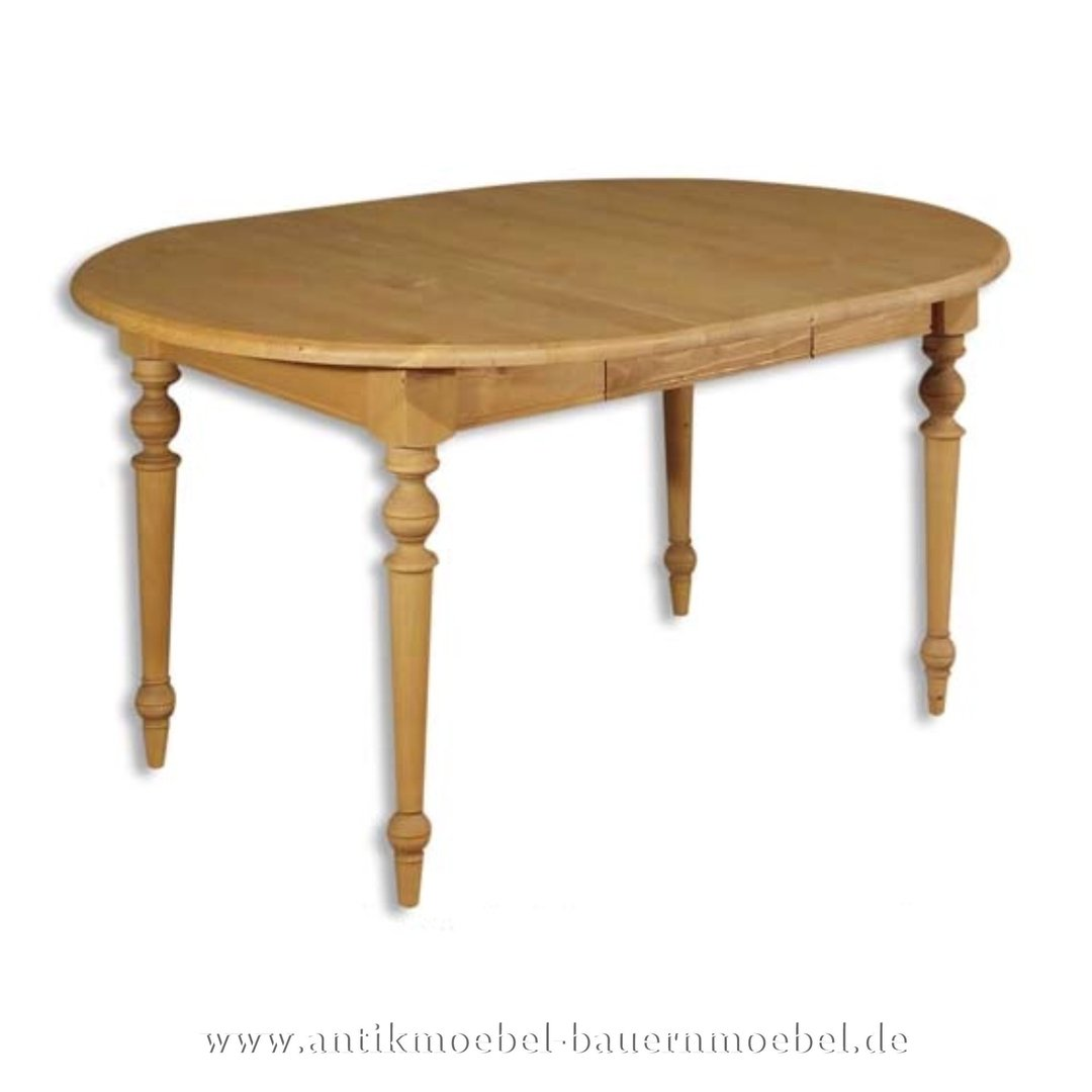 Esstisch Kulissentisch Holztisch ausziehbar Rund Massivholz Landhausstil  Gründerzeit