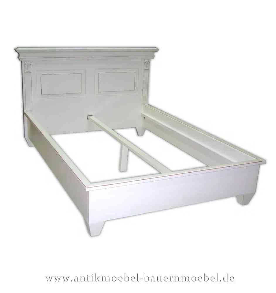 Bett Doppelbett Bettgestell 140x200 weiß Massivholz Landhausstil