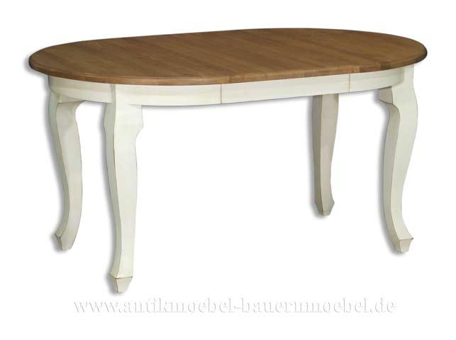 Esstisch rund landhaus  Esstisch Kulissentisch Holztisch weiß ausziehbar Massivholz Landhaus ...