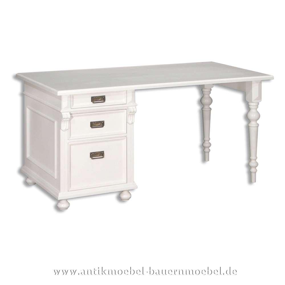 Schreibtisch Weiß Massivholz Landhausstil Lackiert Bürotisch Pc