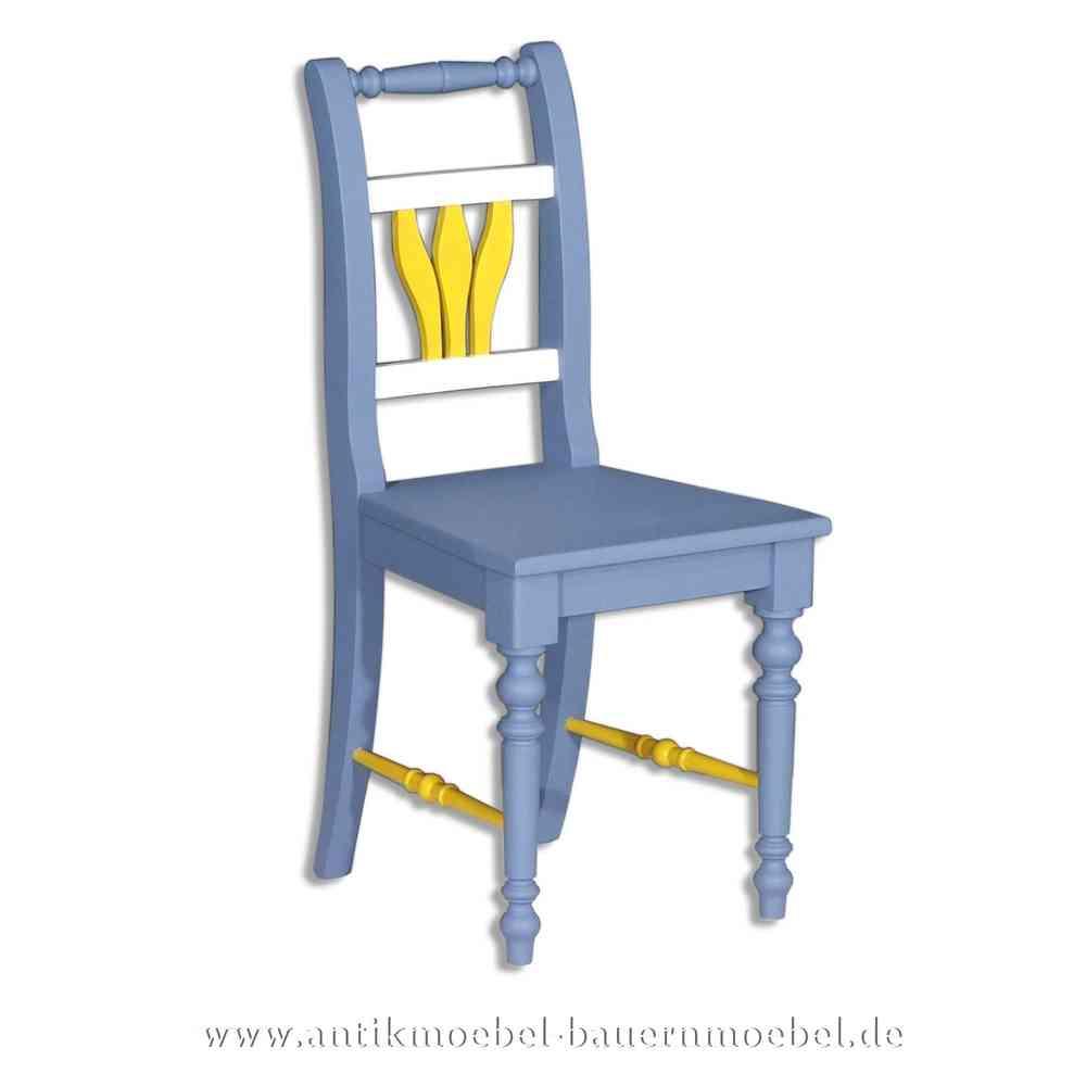 Stuhl Holzstuhl Küchenstuhl Massivholz Landhausstil Fichte blau weiss gelb  Lackiert