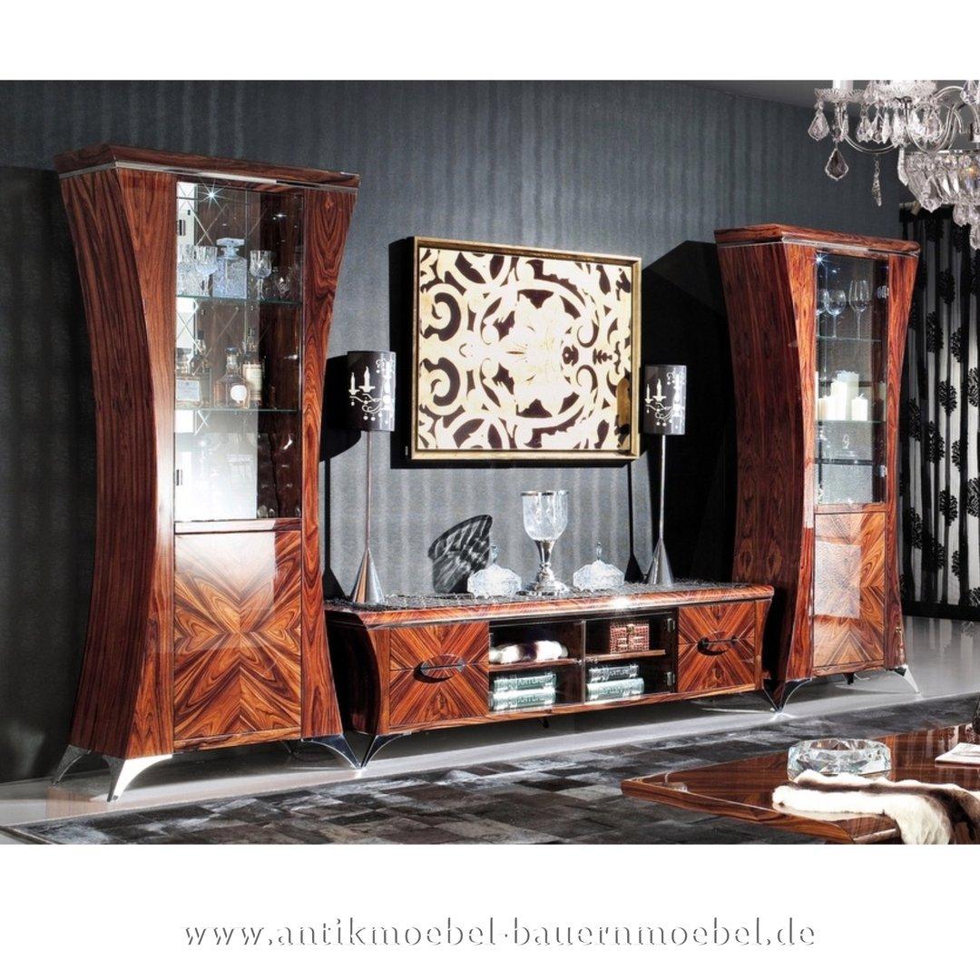 Extravagant Wohnwand Wohnzimmerschrank Wohnzimmerkombi Palisander Hochglanz