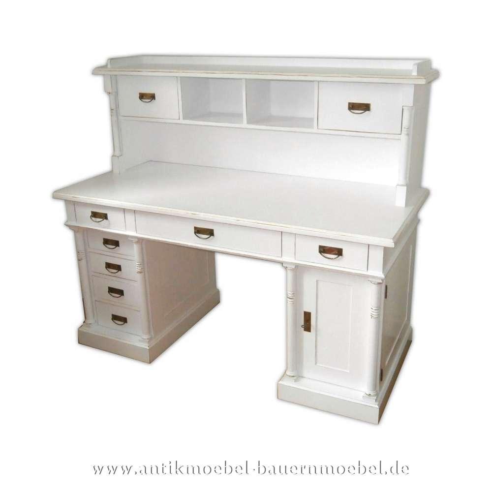 Schreibtisch mit Aufsatz+ Säulen weiß Lackiert Massivholz Landhausstil  Gründerzeit