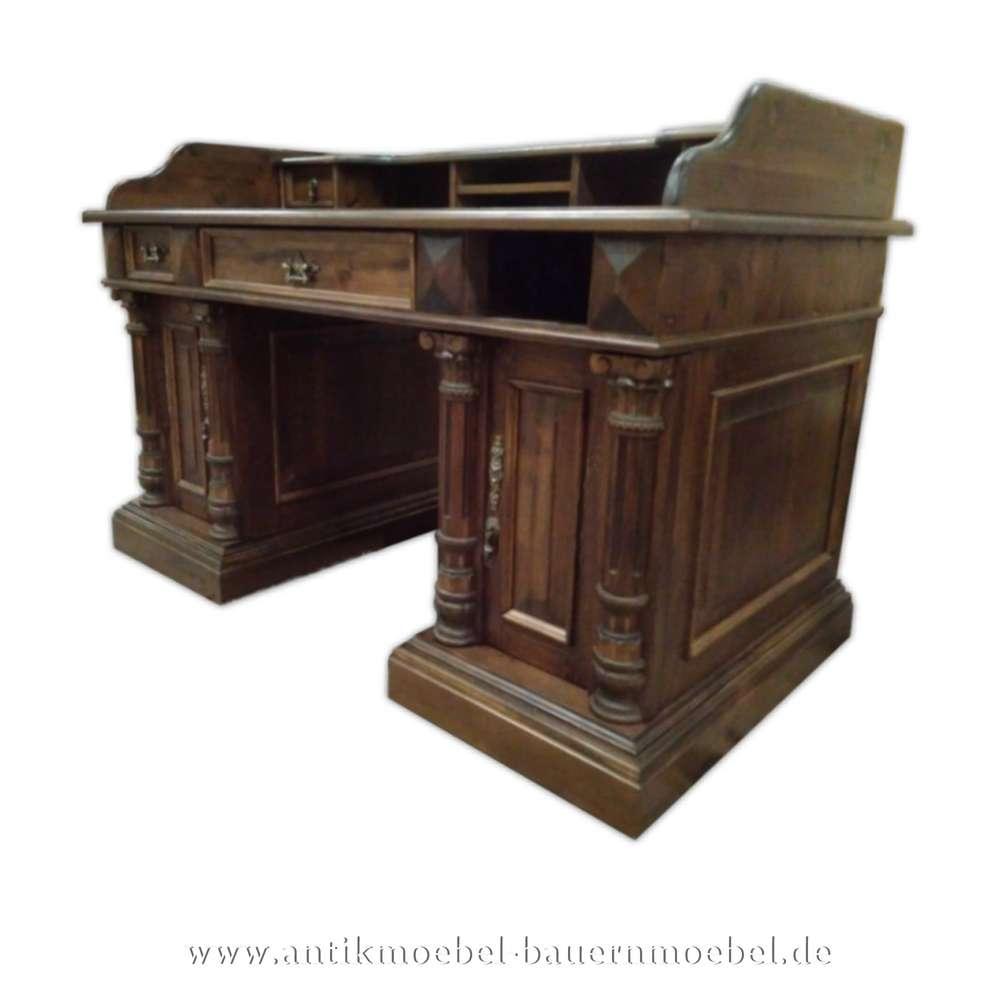 Schreibtisch Mit Aufsatzsäulen Landhausstil Gründerzeit Massivholz