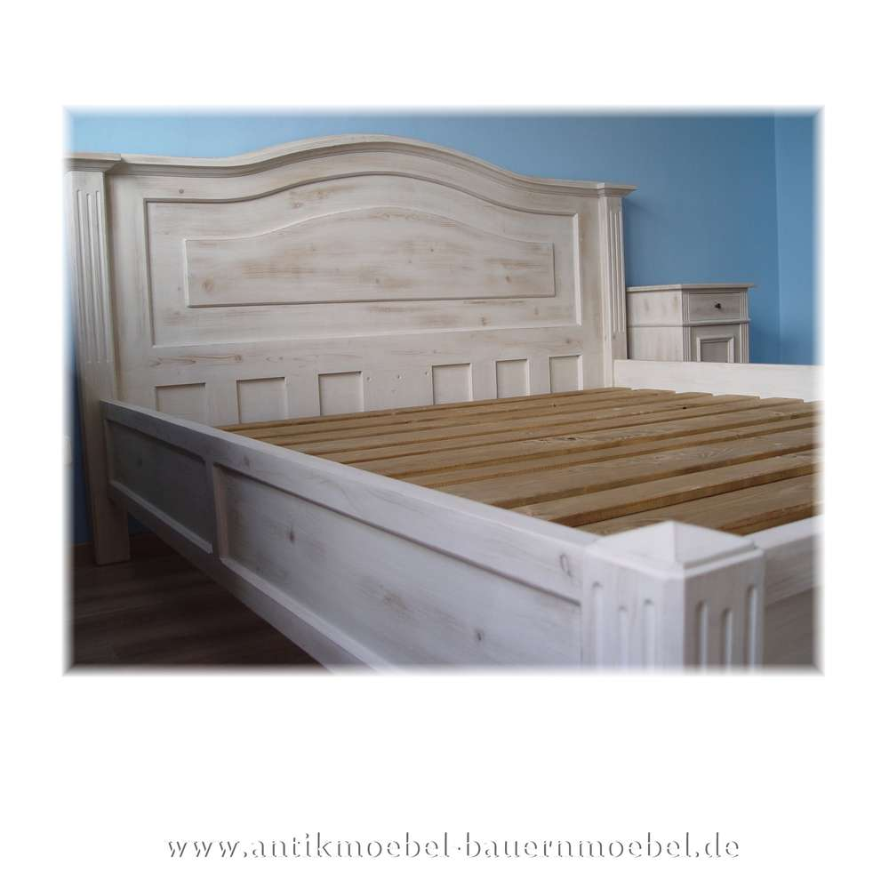 Bett Bettgestell 140x200 Landhausstil Weiß Vollholz Shabby Chic